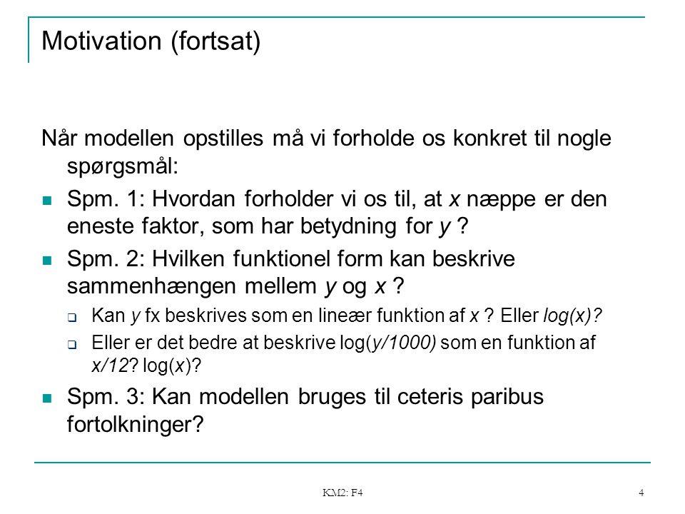 KM2: F4 4 Motivation (fortsat) Når modellen opstilles må vi forholde os konkret til nogle spørgsmål: Spm.