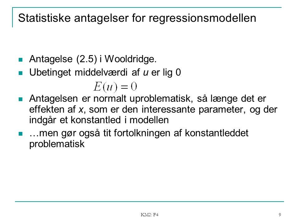 KM2: F4 9 Statistiske antagelser for regressionsmodellen Antagelse (2.5) i Wooldridge.