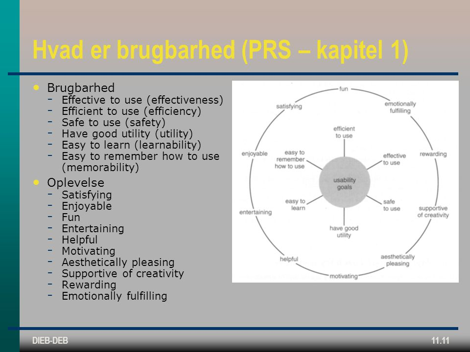 DIEB-DEB11.11 Hvad er brugbarhed (PRS – kapitel 1) Brugbarhed ­ Effective to use (effectiveness) ­ Efficient to use (efficiency) ­ Safe to use (safety) ­ Have good utility (utility) ­ Easy to learn (learnability) ­ Easy to remember how to use (memorability) Oplevelse ­ Satisfying ­ Enjoyable ­ Fun ­ Entertaining ­ Helpful ­ Motivating ­ Aesthetically pleasing ­ Supportive of creativity ­ Rewarding ­ Emotionally fulfilling