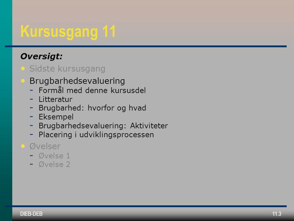 DIEB-DEB11.3 Kursusgang 11 Oversigt: Sidste kursusgang Brugbarhedsevaluering  Formål med denne kursusdel  Litteratur  Brugbarhed: hvorfor og hvad  Eksempel  Brugbarhedsevaluering: Aktiviteter  Placering i udviklingsprocessen Øvelser  Øvelse 1  Øvelse 2
