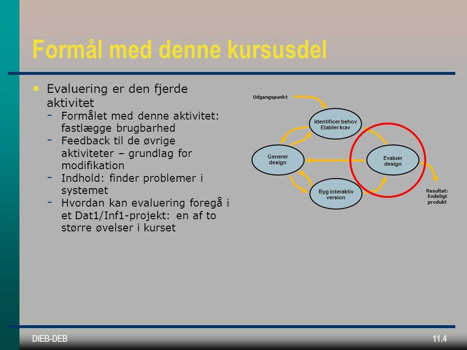 DIEB-DEB11.4 Formål med denne kursusdel Evaluering er den fjerde aktivitet  Formålet med denne aktivitet: fastlægge brugbarhed  Feedback til de øvrige aktiviteter – grundlag for modifikation  Indhold: finder problemer i systemet  Hvordan kan evaluering foregå i et Dat1/Inf1-projekt: en af to større øvelser i kurset Identificer behov Etabler krav Generer design Byg interaktiv version Evaluer design Udgangspunkt Resultat: Endeligt produkt