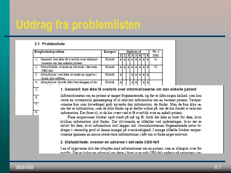 DIEB-DEB11.7 Uddrag fra problemlisten