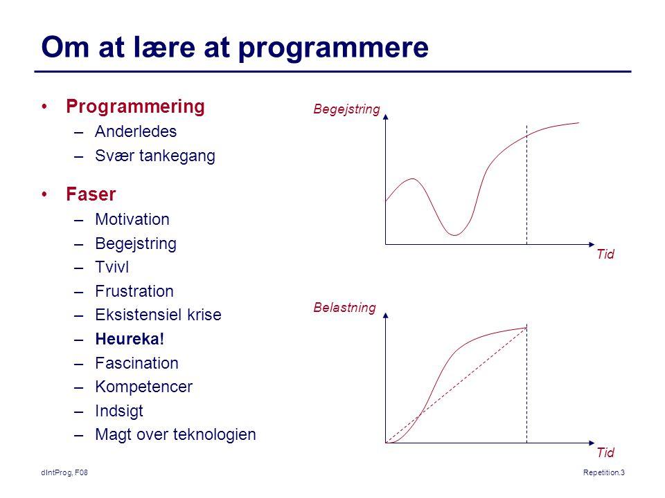 dIntProg, F08Repetition.3 Om at lære at programmere Programmering –Anderledes –Svær tankegang Faser –Motivation –Begejstring –Tvivl –Frustration –Eksistensiel krise –Heureka.
