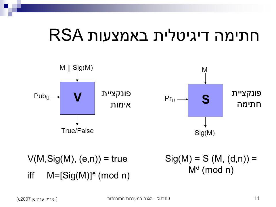 הגנה במערכות מתוכנתות - תרגול 311 (c) אריק פרידמן 2007 חתימה דיגיטלית באמצעות RSA S M Sig(M) Pr U V M || Sig(M) True/False Pub U Sig(M) = S (M, (d,n)) = M d (mod n) פונקציית חתימה פונקציית אימות V(M,Sig(M), (e,n)) = true iff M=[Sig(M)] e (mod n)