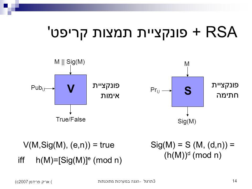 הגנה במערכות מתוכנתות - תרגול 314 (c) אריק פרידמן 2007 RSA + פונקציית תמצות קריפט S M Sig(M) Pr U V M || Sig(M) True/False Pub U Sig(M) = S (M, (d,n)) = (h(M)) d (mod n) פונקציית חתימה פונקציית אימות V(M,Sig(M), (e,n)) = true iff h(M)=[Sig(M)] e (mod n)