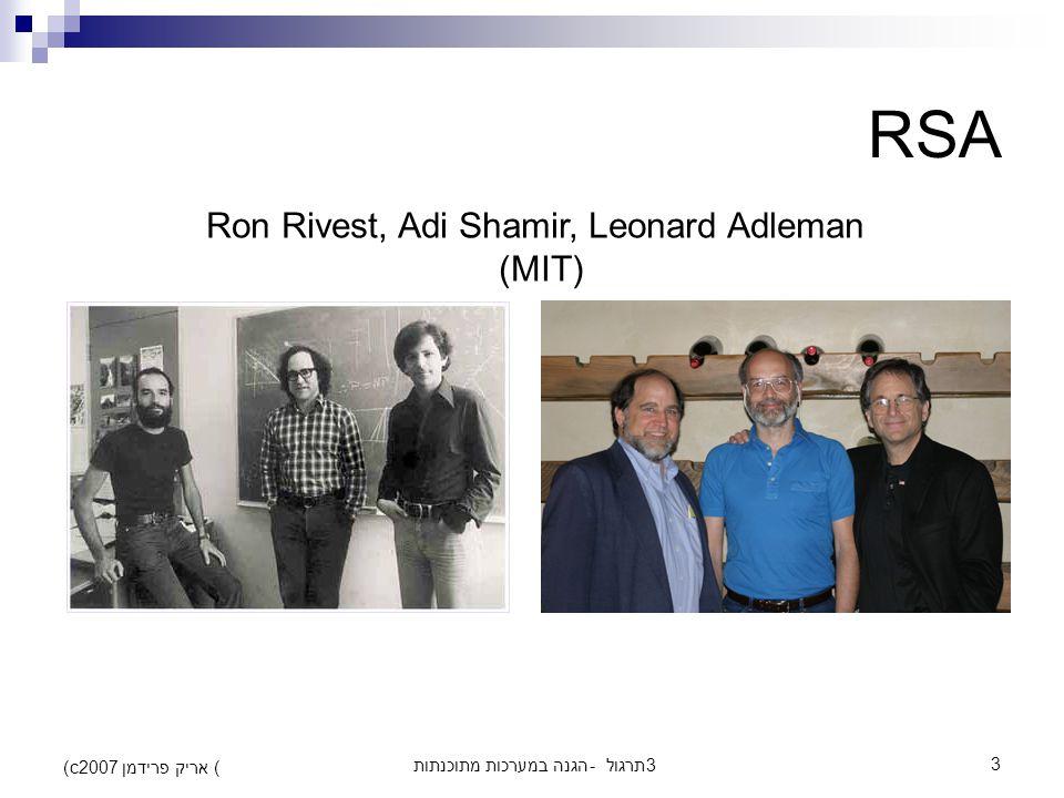 הגנה במערכות מתוכנתות - תרגול 33 (c) אריק פרידמן 2007 RSA Ron Rivest, Adi Shamir, Leonard Adleman (MIT)