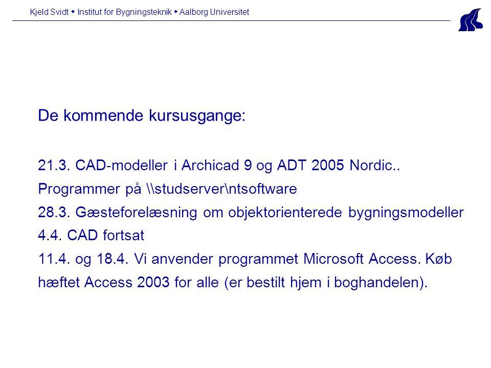 De kommende kursusgange: 21.3. CAD-modeller i Archicad 9 og ADT 2005 Nordic..