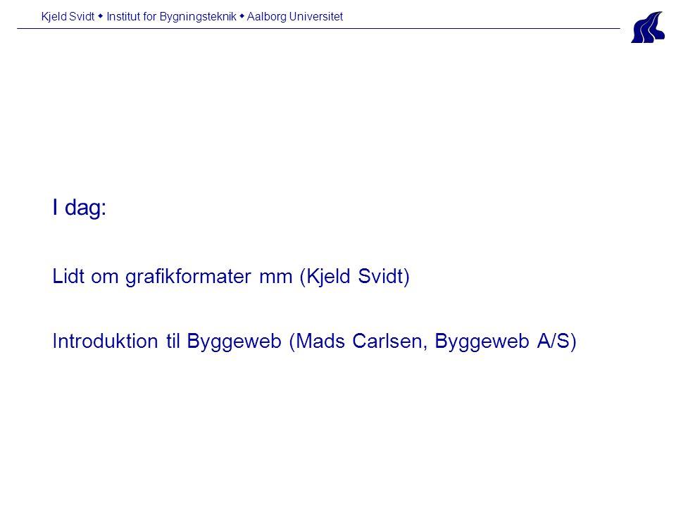 I dag: Lidt om grafikformater mm (Kjeld Svidt) Introduktion til Byggeweb (Mads Carlsen, Byggeweb A/S) Kjeld Svidt  Institut for Bygningsteknik  Aalborg Universitet