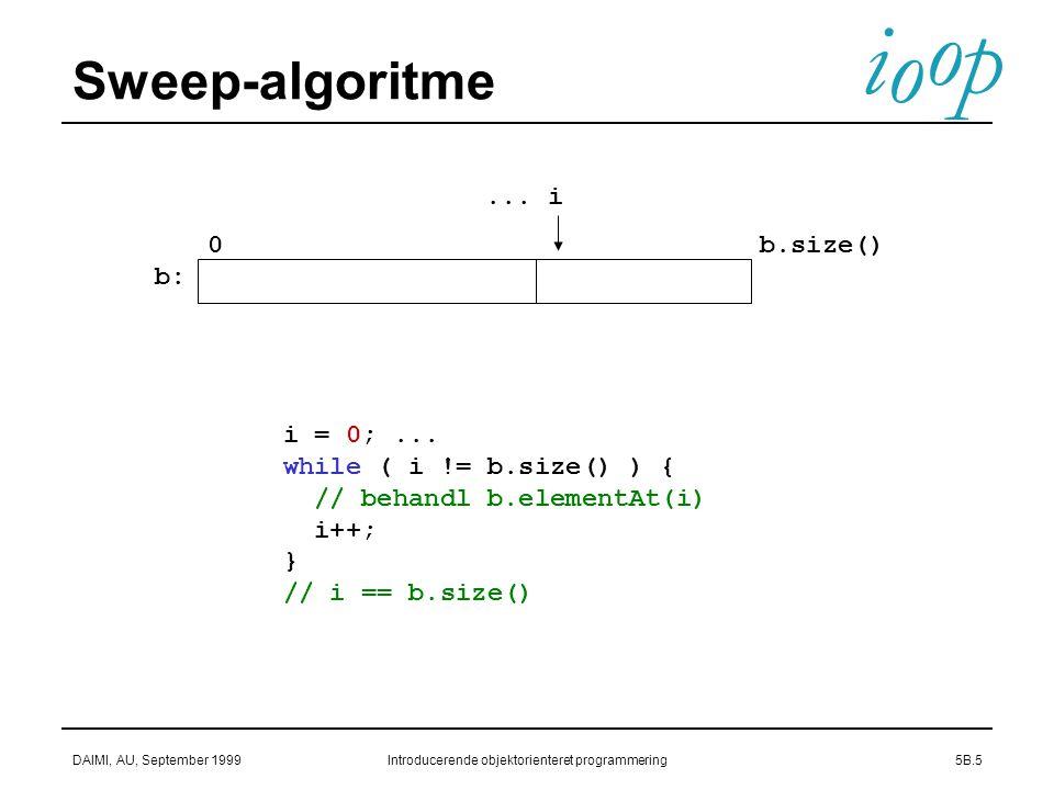 i o p o DAIMI, AU, September 1999Introducerende objektorienteret programmering5B.5 Sweep-algoritme...