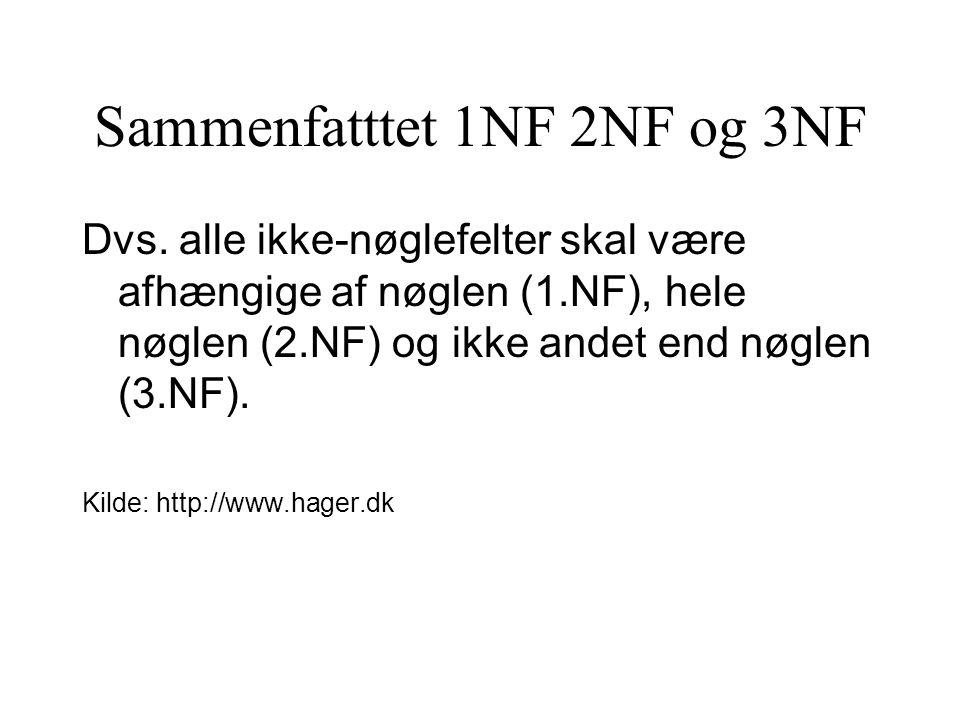 Sammenfatttet 1NF 2NF og 3NF Dvs.