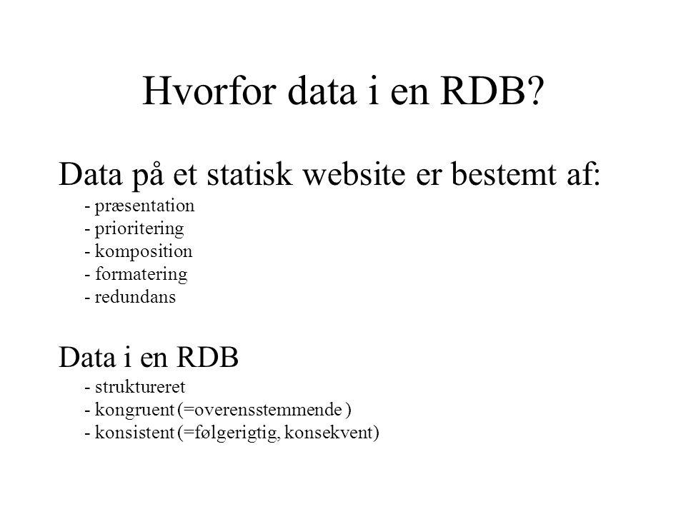 Hvorfor data i en RDB.