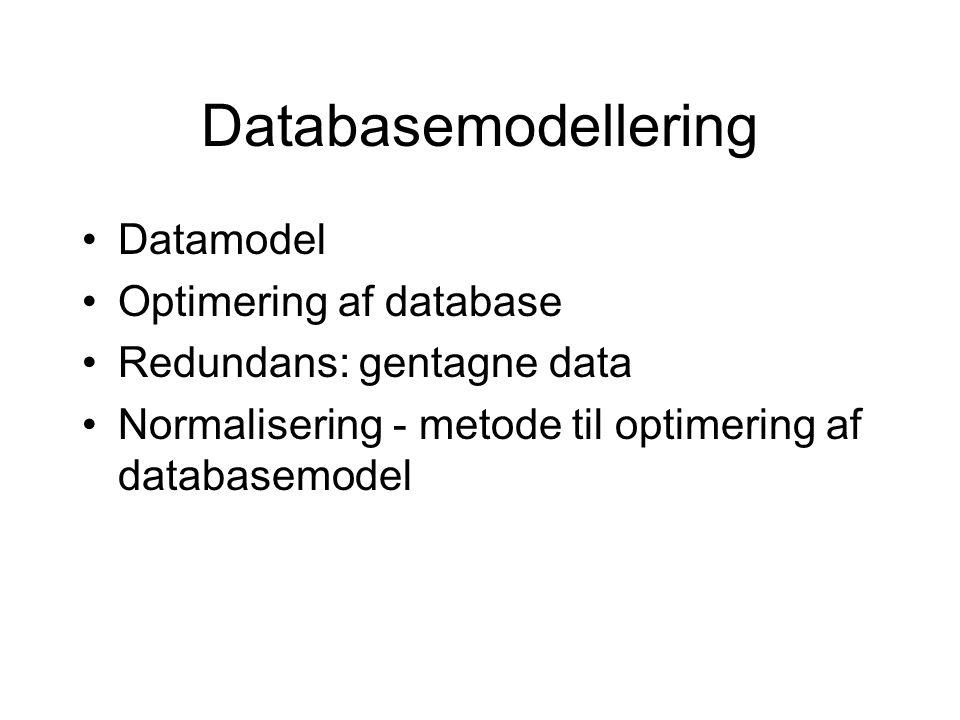 Databasemodellering Datamodel Optimering af database Redundans: gentagne data Normalisering - metode til optimering af databasemodel