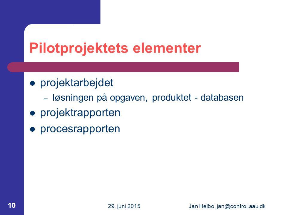 29. juni 2015Jan Helbo, jan@control.aau.dk 10 Pilotprojektets elementer projektarbejdet – løsningen på opgaven, produktet - databasen projektrapporten
