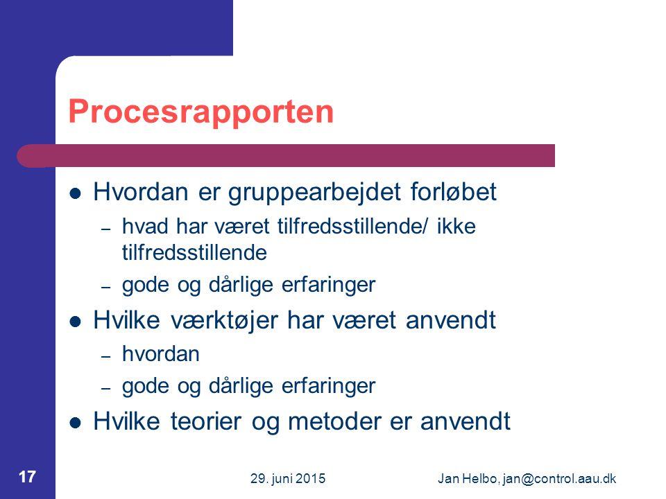 29. juni 2015Jan Helbo, jan@control.aau.dk 17 Procesrapporten Hvordan er gruppearbejdet forløbet – hvad har været tilfredsstillende/ ikke tilfredsstil