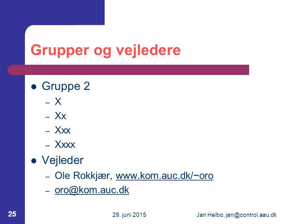 29. juni 2015Jan Helbo, jan@control.aau.dk 25 Grupper og vejledere Gruppe 2 – X – Xx – Xxx – Xxxx Vejleder – Ole Rokkjær, www.kom.auc.dk/~orowww.kom.a