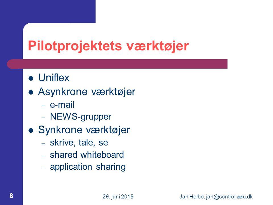 29.juni 2015Jan Helbo, jan@control.aau.dk 19 Evaluering af pilotprojektet Hvad evalueres.