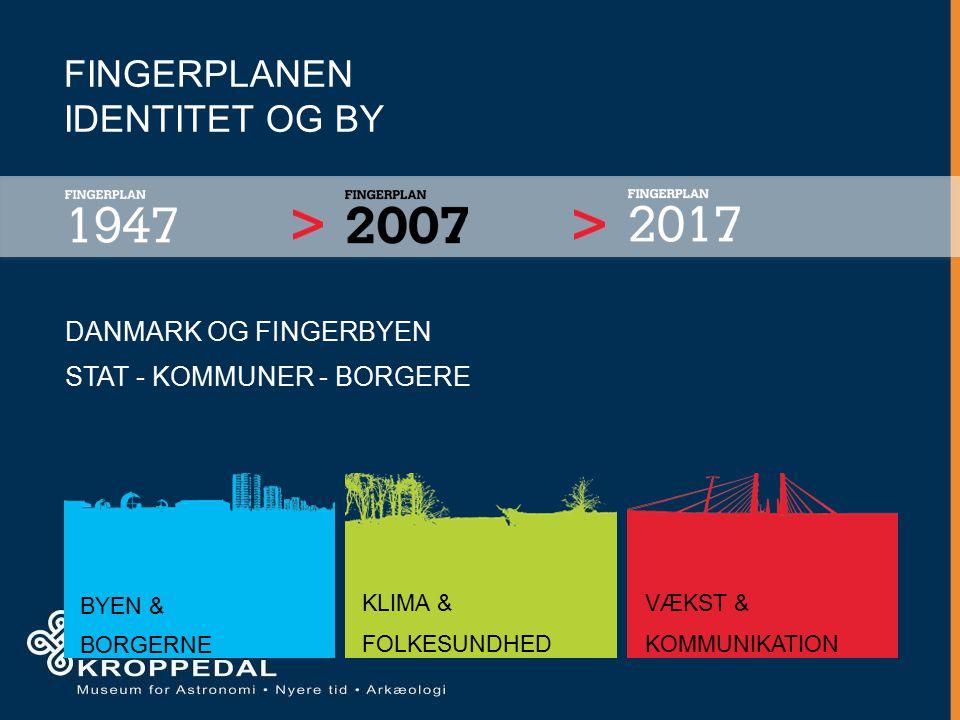 FINGERPLANEN IDENTITET OG BY DANMARK OG FINGERBYEN STAT - KOMMUNER - BORGERE BYEN & BORGERNE KLIMA & FOLKESUNDHED VÆKST & KOMMUNIKATION