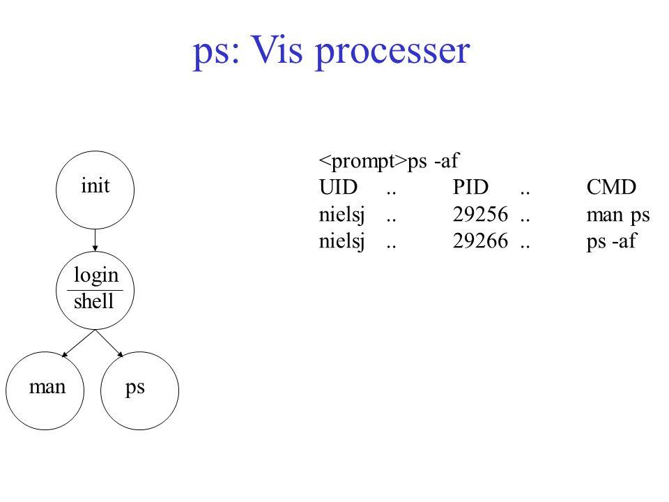 ps: Vis processer init login shell ps ps -af UID..PID..CMD nielsj..29256..man ps nielsj..29266..ps -af man