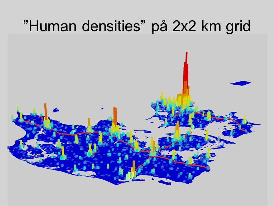 Human densities på 2x2 km grid