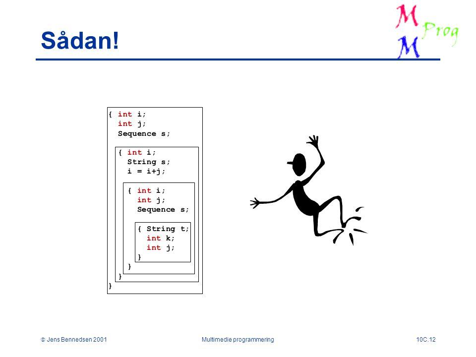  Jens Bennedsen 2001Multimedie programmering10C.12 { int i; int j; Sequence s; { int i; String s; i = i+j; { int i; int j; Sequence s; { String t; int k; int j; } Sådan!
