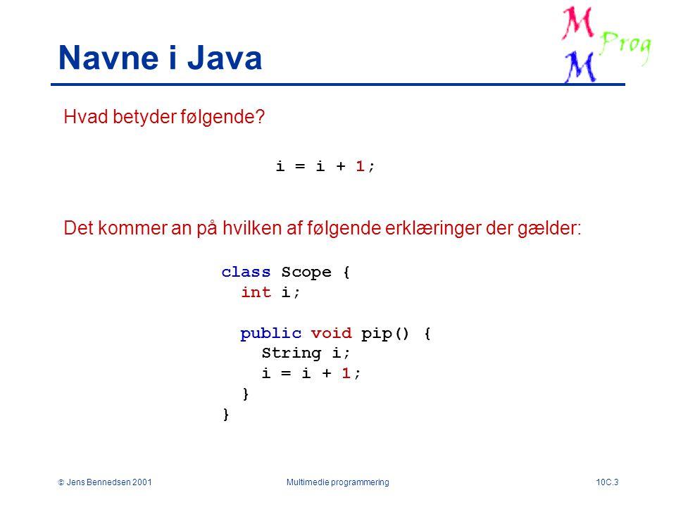  Jens Bennedsen 2001Multimedie programmering10C.3 Navne i Java Hvad betyder følgende.