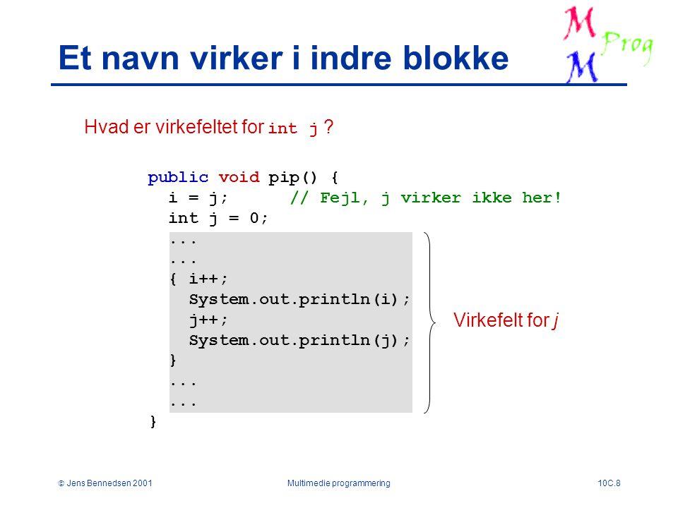  Jens Bennedsen 2001Multimedie programmering10C.8 Et navn virker i indre blokke public void pip() { i = j; // Fejl, j virker ikke her.