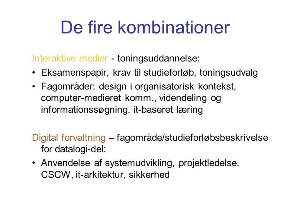 De fire kombinationer Interaktive medier - toningsuddannelse: Eksamenspapir, krav til studieforløb, toningsudvalg Fagområder: design i organisatorisk kontekst, computer-medieret komm., videndeling og informationssøgning, it-baseret læring Digital forvaltning – fagområde/studieforløbsbeskrivelse for datalogi-del: Anvendelse af systemudvikling, projektledelse, CSCW, it-arkitektur, sikkerhed
