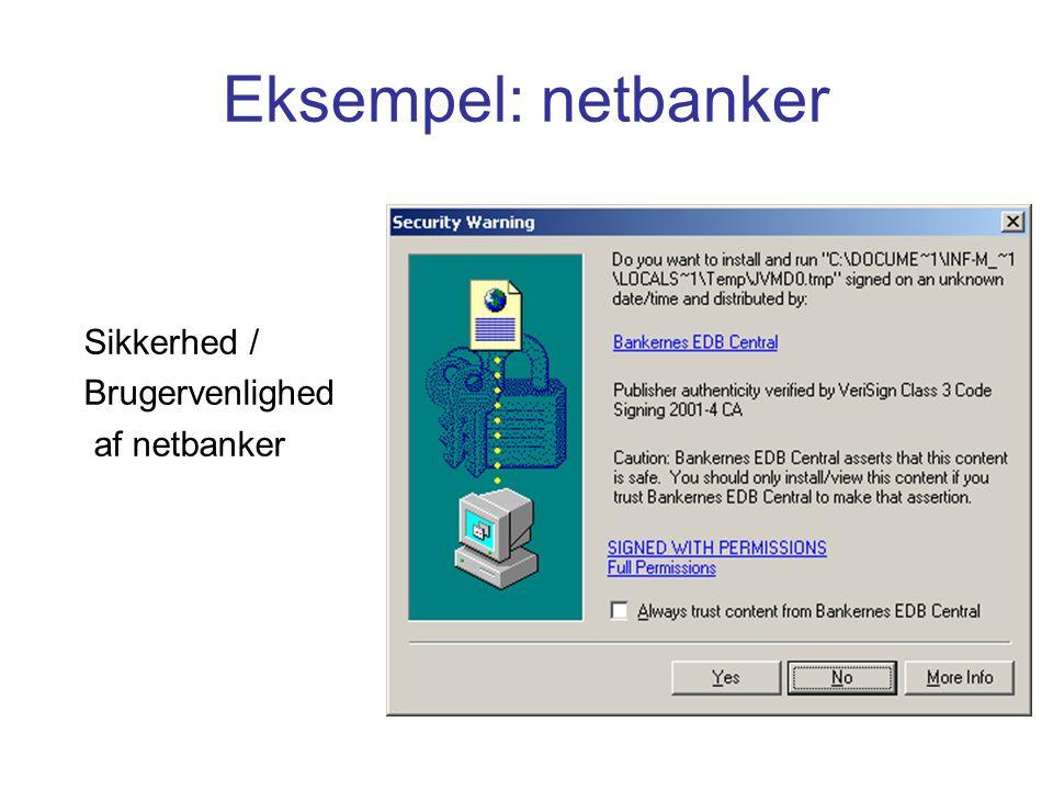 Eksempel: netbanker Sikkerhed / Brugervenlighed af netbanker