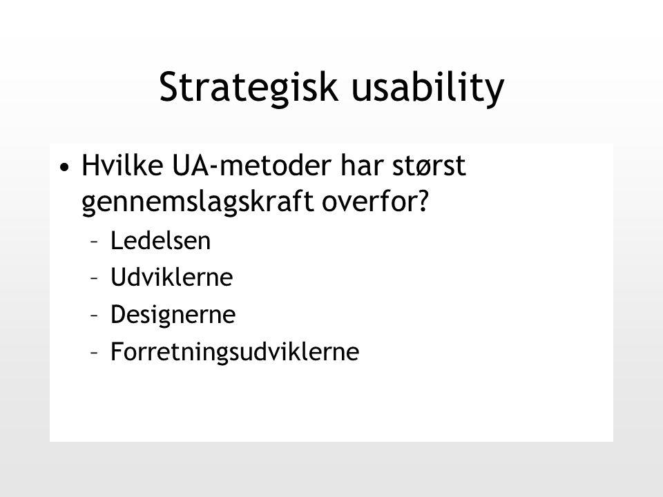 Strategisk usability Hvilke UA-metoder har størst gennemslagskraft overfor.