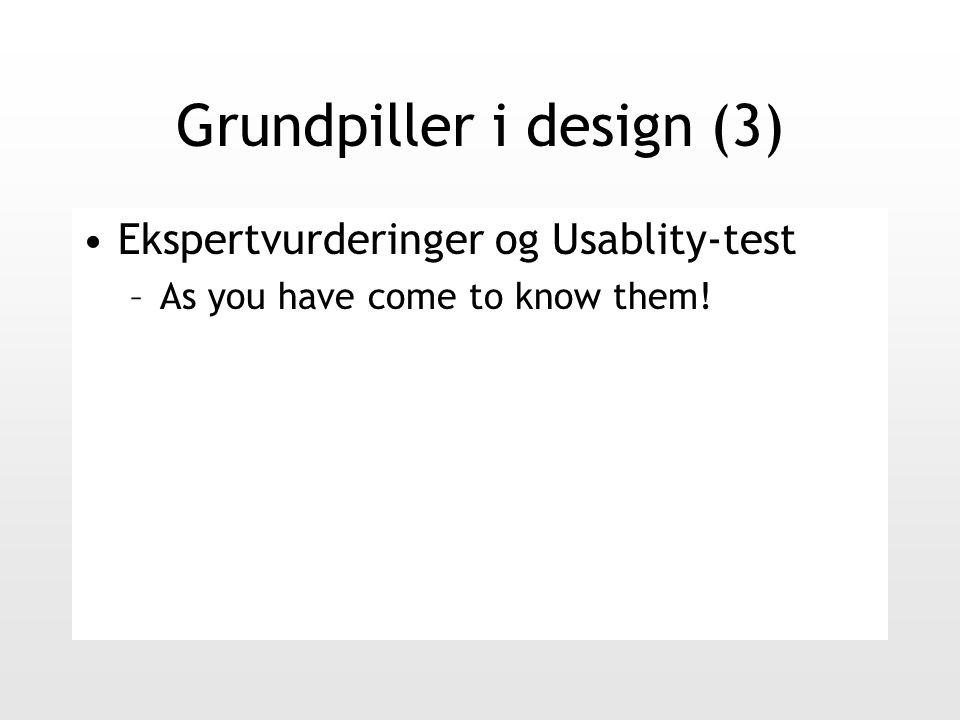 Grundpiller i design (3) Ekspertvurderinger og Usablity-test –As you have come to know them!