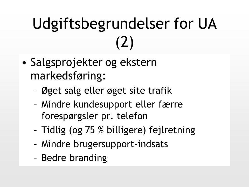 Udgiftsbegrundelser for UA (2) Salgsprojekter og ekstern markedsføring: –Øget salg eller øget site trafik –Mindre kundesupport eller færre forespørgsler pr.