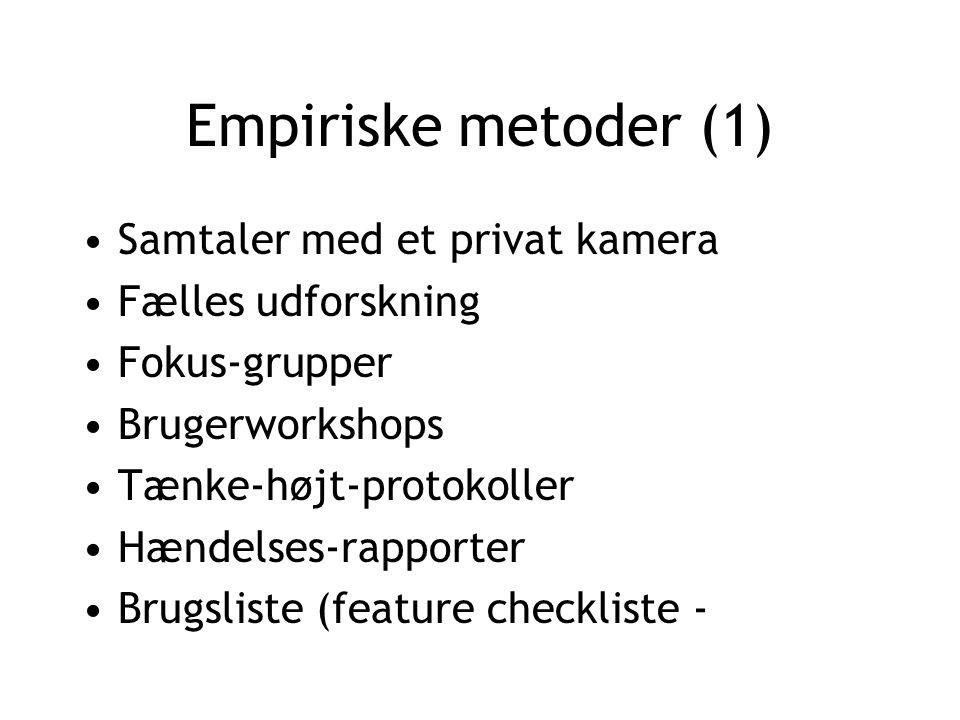 Empiriske metoder (1) Samtaler med et privat kamera Fælles udforskning Fokus-grupper Brugerworkshops Tænke-højt-protokoller Hændelses-rapporter Brugsliste (feature checkliste -