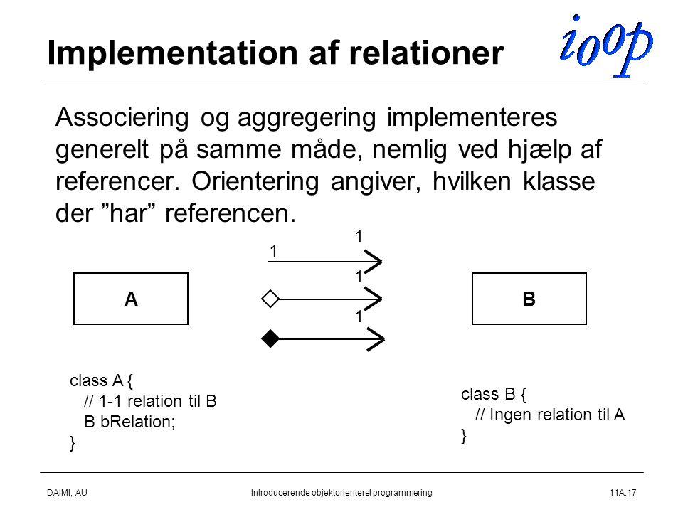DAIMI, AUIntroducerende objektorienteret programmering11A.17 Implementation af relationer  Associering og aggregering implementeres generelt på samme måde, nemlig ved hjælp af referencer.
