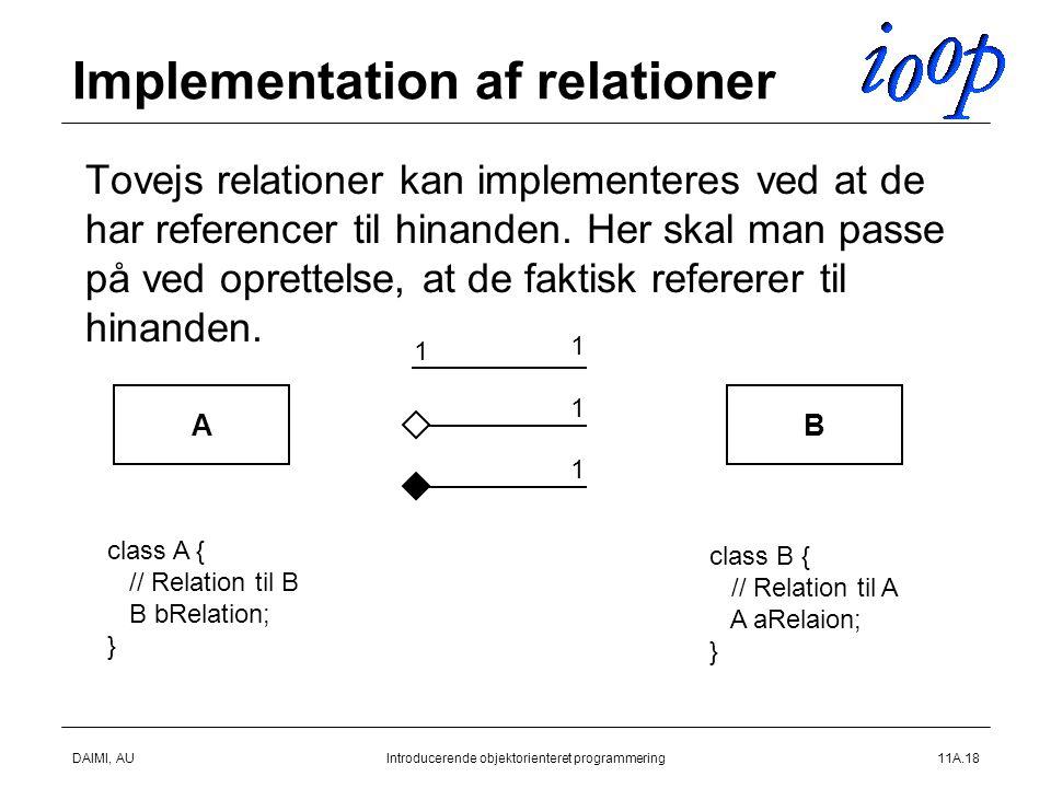 DAIMI, AUIntroducerende objektorienteret programmering11A.18 Implementation af relationer  Tovejs relationer kan implementeres ved at de har referencer til hinanden.