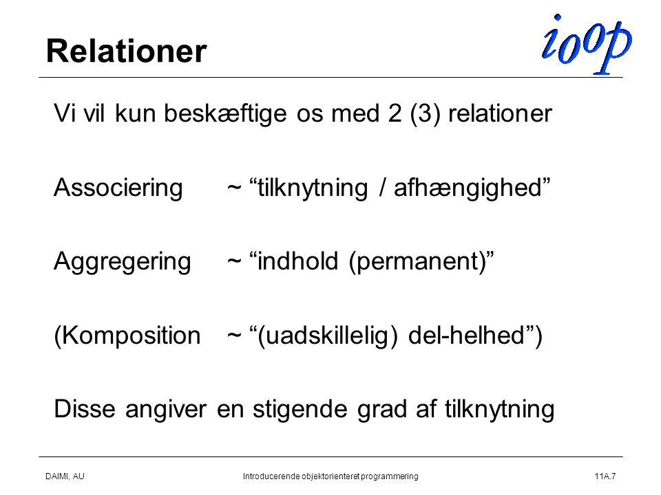 DAIMI, AUIntroducerende objektorienteret programmering11A.7 Relationer  Vi vil kun beskæftige os med 2 (3) relationer  Associering~ tilknytning / afhængighed  Aggregering~ indhold (permanent)  (Komposition~ (uadskillelig) del-helhed )  Disse angiver en stigende grad af tilknytning 