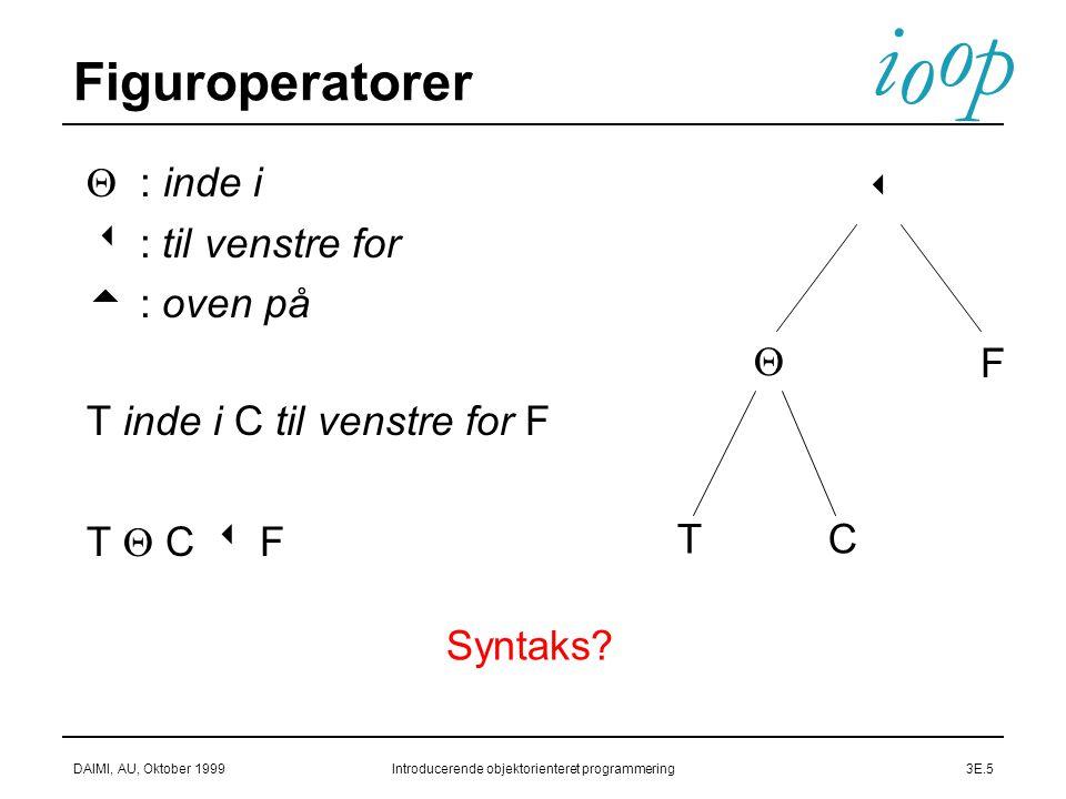 i o p o DAIMI, AU, Oktober 1999Introducerende objektorienteret programmering3E.5 Figuroperatorer  : inde i   : til venstre for   : oven på  T inde i C til venstre for F  T  C  F   F TC Syntaks