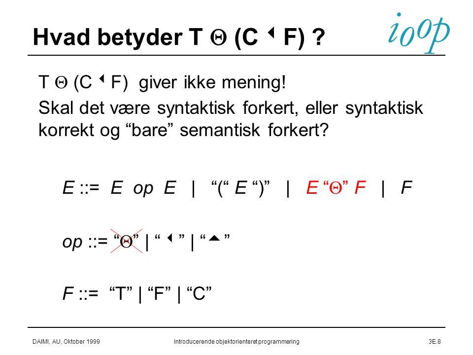 i o p o DAIMI, AU, Oktober 1999Introducerende objektorienteret programmering3E.8  E ::= E op E | ( E ) | E  F | F  op ::=  |  |   F ::= T | F | C Hvad betyder T  (C  F) .