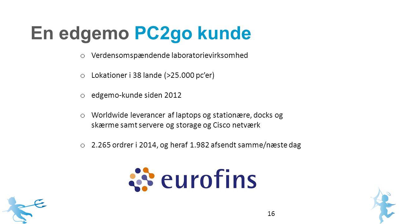 En edgemo PC2go kunde 16 o Verdensomspændende laboratorievirksomhed o Lokationer i 38 lande (>25.000 pc'er) o edgemo-kunde siden 2012 o Worldwide leverancer af laptops og stationære, docks og skærme samt servere og storage og Cisco netværk o 2.265 ordrer i 2014, og heraf 1.982 afsendt samme/næste dag