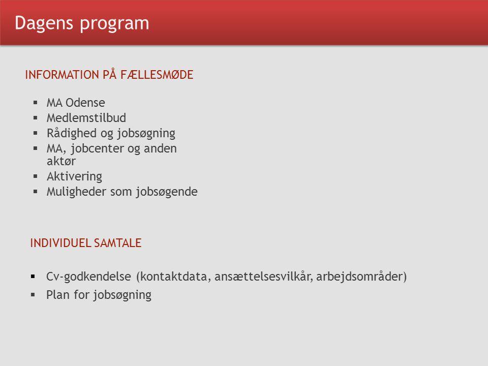 Dagens program INFORMATION PÅ FÆLLESMØDE  MA Odense  Medlemstilbud  Rådighed og jobsøgning  MA, jobcenter og anden aktør  Aktivering  Muligheder som jobsøgende INDIVIDUEL SAMTALE  Cv-godkendelse (kontaktdata, ansættelsesvilkår, arbejdsområder)  Plan for jobsøgning