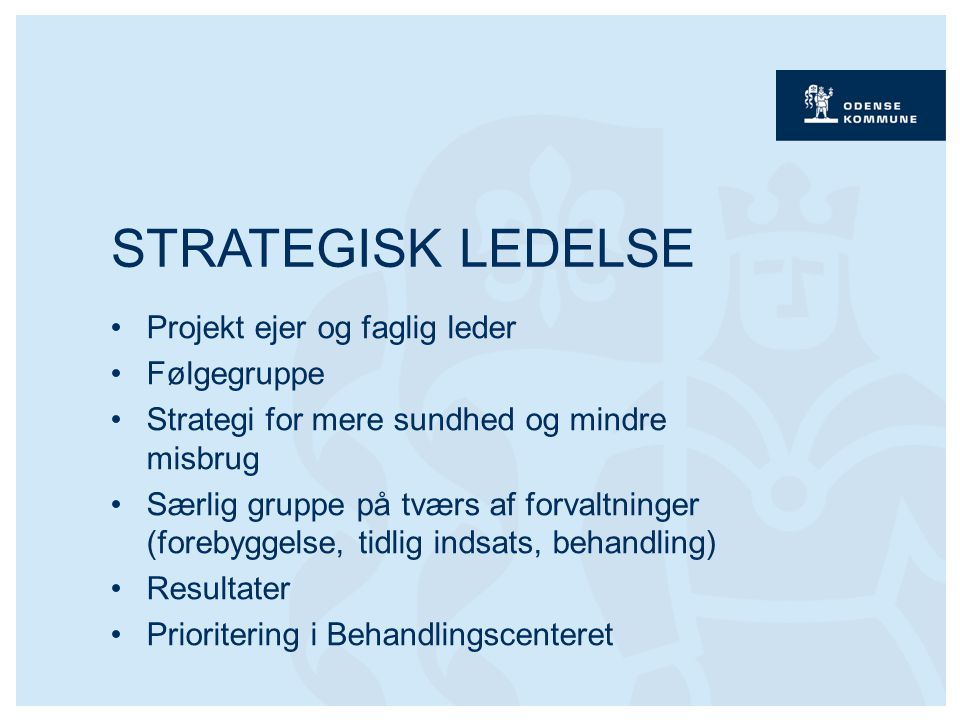 Projekt ejer og faglig leder Følgegruppe Strategi for mere sundhed og mindre misbrug Særlig gruppe på tværs af forvaltninger (forebyggelse, tidlig indsats, behandling) Resultater Prioritering i Behandlingscenteret STRATEGISK LEDELSE