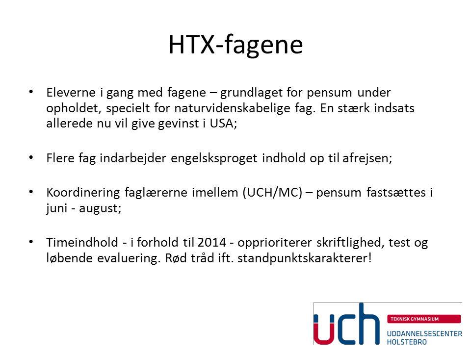 HTX-fagene Eleverne i gang med fagene – grundlaget for pensum under opholdet, specielt for naturvidenskabelige fag.