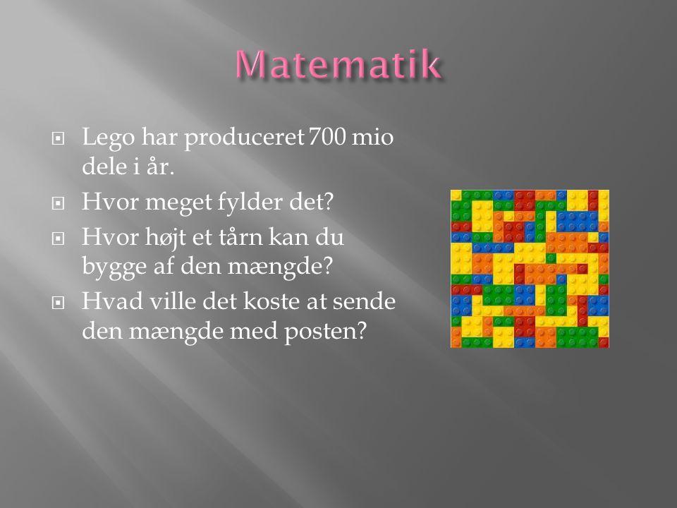  Lego har produceret 700 mio dele i år.  Hvor meget fylder det.