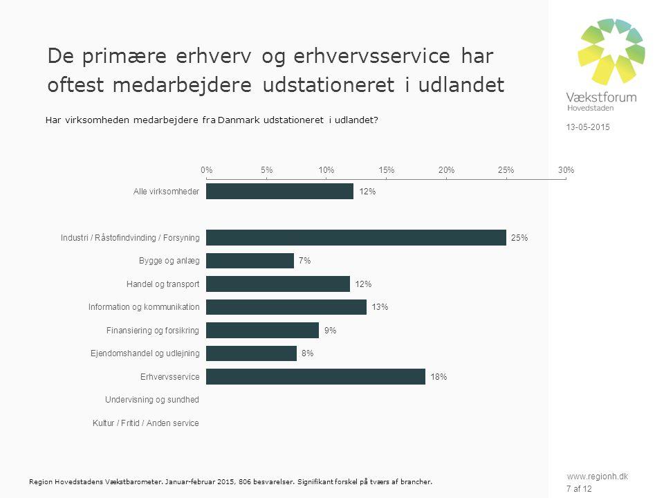 www.regionh.dk 13-05-2015 7 af 12 Har virksomheden medarbejdere fra Danmark udstationeret i udlandet.
