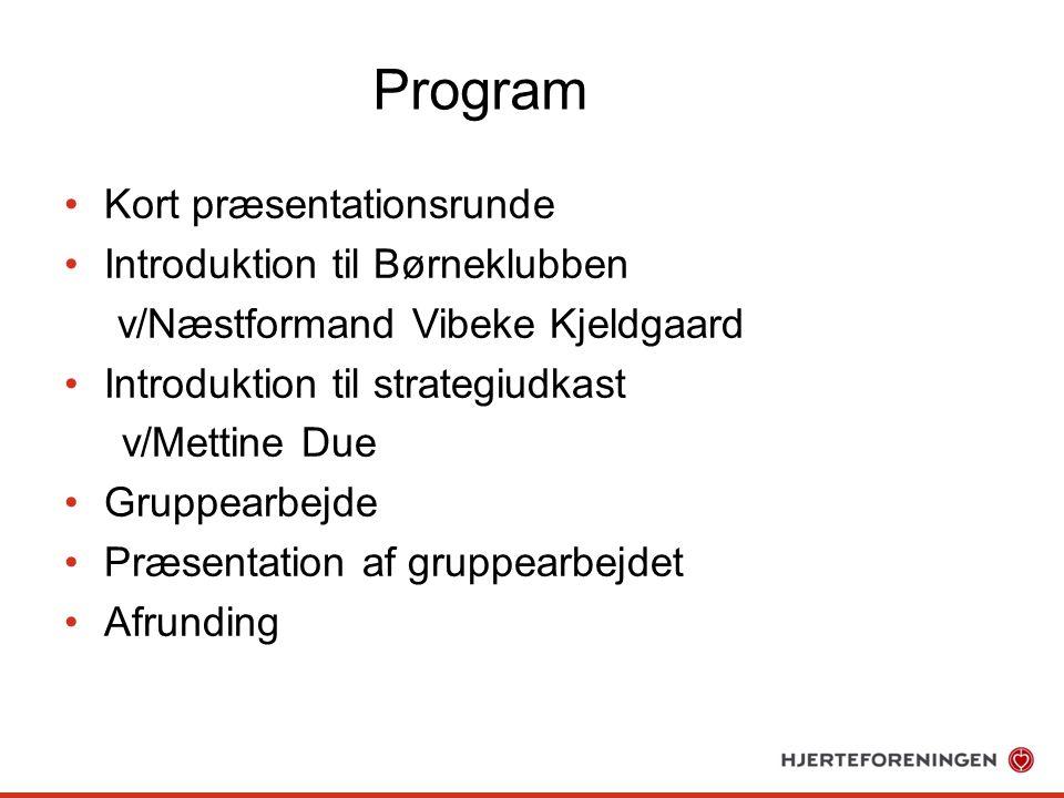 Program Kort præsentationsrunde Introduktion til Børneklubben v/Næstformand Vibeke Kjeldgaard Introduktion til strategiudkast v/Mettine Due Gruppearbejde Præsentation af gruppearbejdet Afrunding