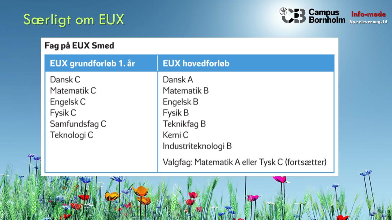 Info-møde Nye elever aug-15 Særligt om EUX
