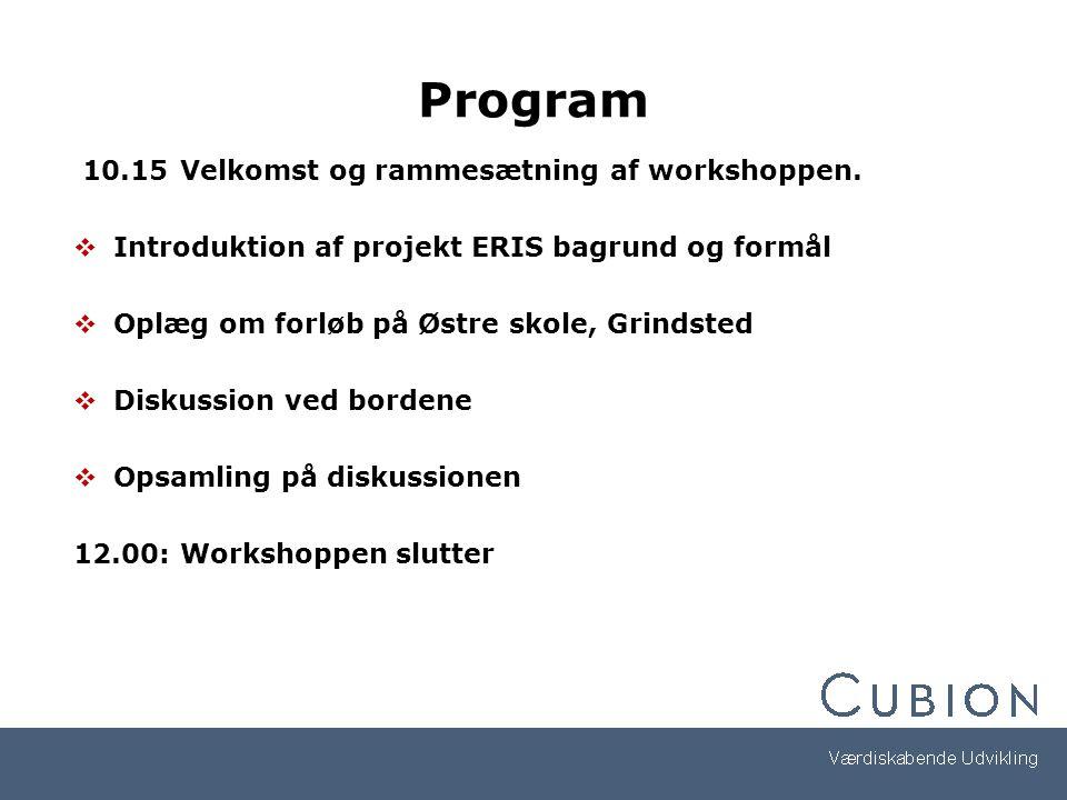 Program 10.15Velkomst og rammesætning af workshoppen.