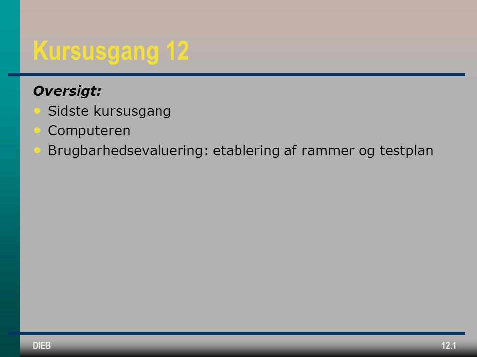 DIEB12.1 Kursusgang 12 Oversigt: Sidste kursusgang Computeren Brugbarhedsevaluering: etablering af rammer og testplan