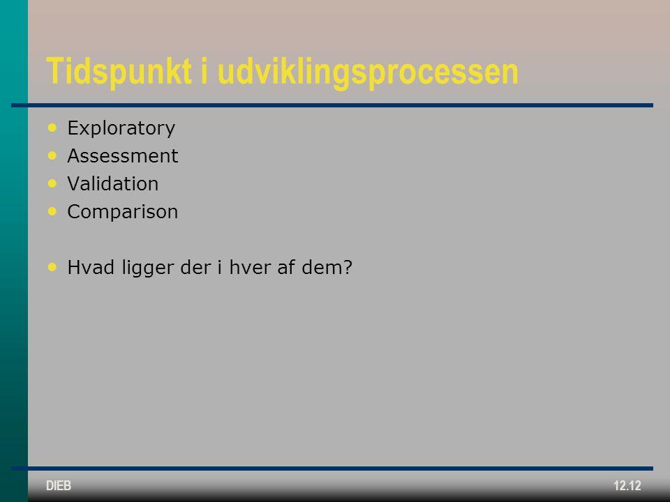 DIEB12.12 Tidspunkt i udviklingsprocessen Exploratory Assessment Validation Comparison Hvad ligger der i hver af dem