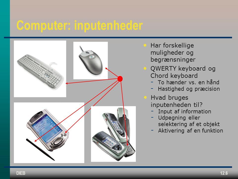 DIEB12.6 Computer: inputenheder Har forskellige muligheder og begrænsninger QWERTY keyboard og Chord keyboard  To hænder vs.