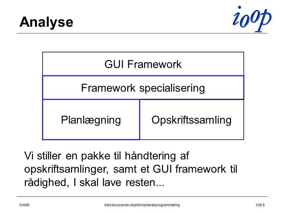 DAIMIIntroducerende objektorienteret programmering12B.6 Analyse GUI Framework Framework specialisering Opskriftssamling Planlægning Vi stiller en pakke til håndtering af opskriftsamlinger, samt et GUI framework til rådighed, I skal lave resten...